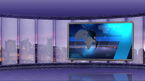 News TV Studio Set 90 Virtual Green Screen Background Loop stock footage