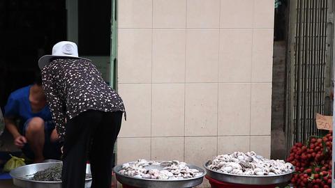 customers buy from saigon morning market Footage
