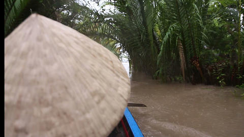 rice hats - rowing boat on mekong river Footage