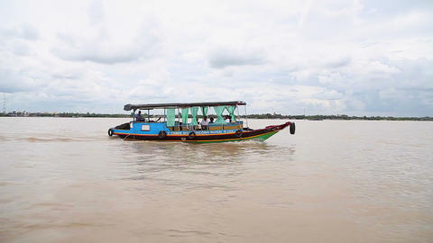 moving wide angle - boat on mekong river Live Action
