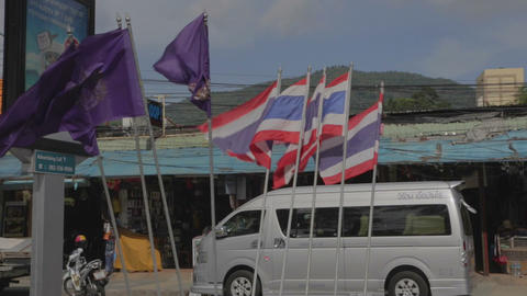 Thai flags blowing at patong Live Action