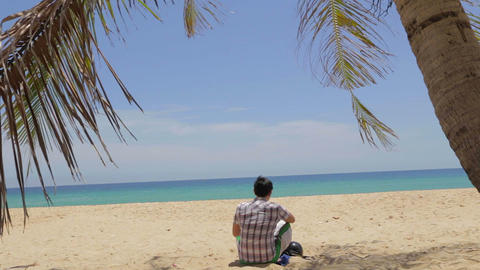 Asian Man Sitting Under Palm Tree At Phuket Beach stock footage