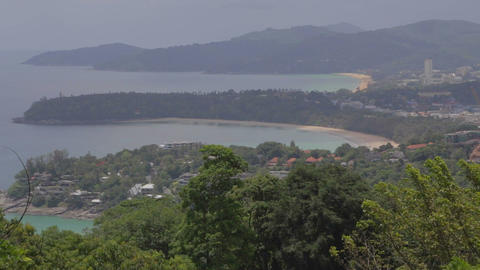 close angle aerial of Phuket beach from Karon viewpoint Live Action