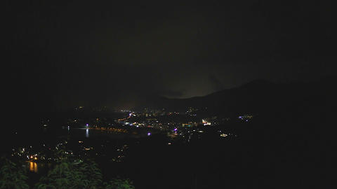 Karon viewpoint at night with thunder Footage