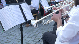 Trumpeters On A Brass Band stock footage