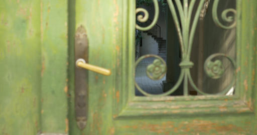 Vintage Door On Interior Courtyard stock footage