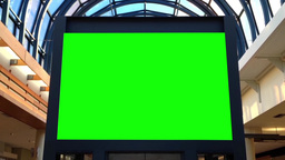 Green Billboard For Your Ad Inside Shopping Mall stock footage