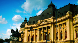 BUCHAREST, ROMANIA 2015 JUNE: Central University Library, Static Shot stock footage