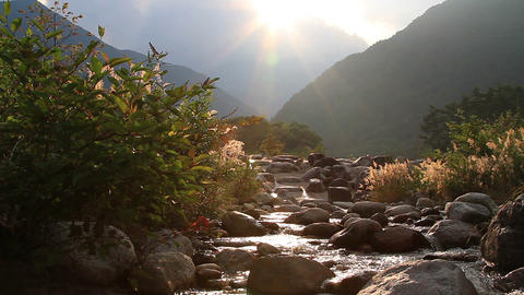Flowing river shining in the setting sun Footage