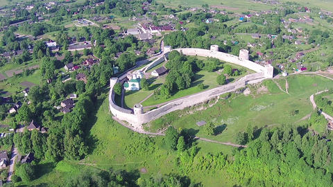 Flying Above Old Fortress and Village Live Action