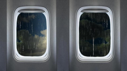 Thunder Strom View From Airplanes Passenger Windows stock footage