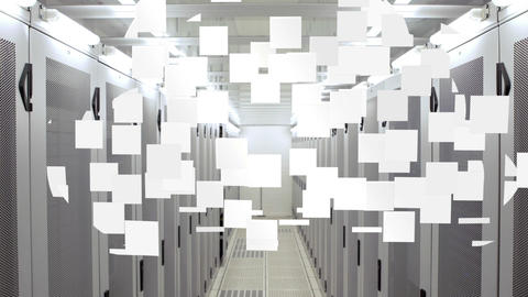 Cloud computing graphic in data centre Animation