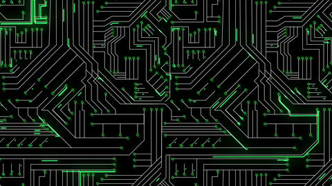 Green lines moving through circuit board Animation