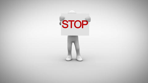 White character holding sign saying stop Animation