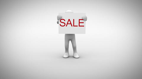 White character holding sign saying sale Animation