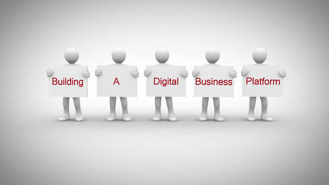White characters showing signs saying building a digital business platform Animation