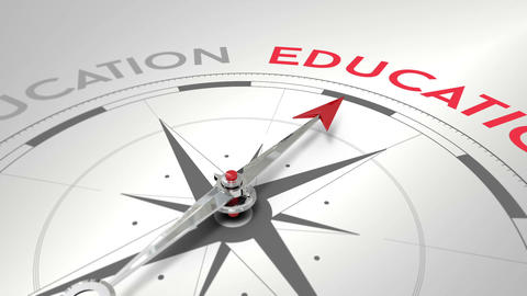 Compass pointing to education Animation