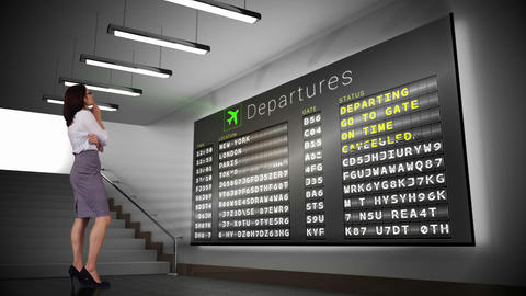 Businesswoman looking at departures board Animation