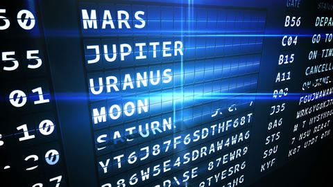 Departures board for outer space Animation