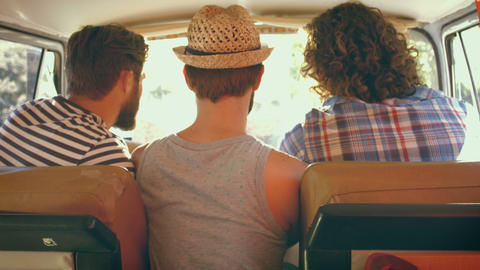 In high quality format hipster friends on road trip Live Action