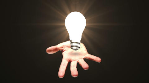 Hand presenting light bulb Animation