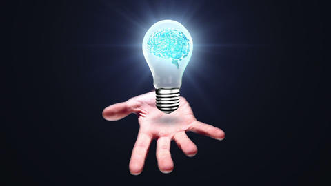 Hand presenting light bulb with brain Animation