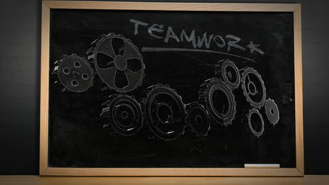 Cogs and wheels turning on blackboard Animation