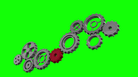 Cogs and wheels turning on green screen Animation