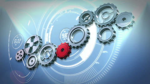 Cogs and wheels turning against interface Animation