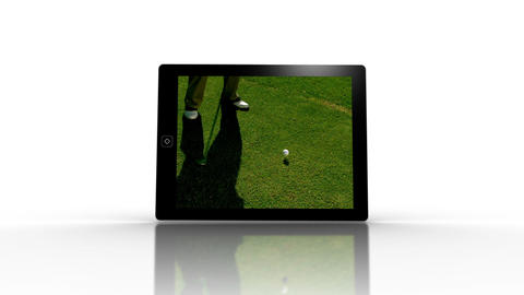 Media device screens showing golf Animation
