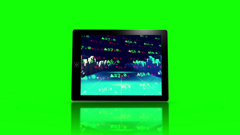 Media device screens showing stocks and shares Animation
