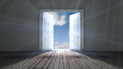 Door opening to blue sky Animation