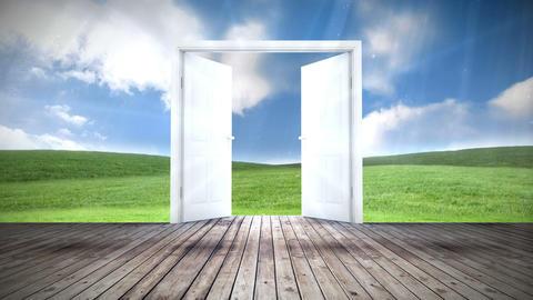 Door opening to green meadow Animation