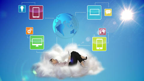 Businesswoman using tablet pc on a cloud Animation