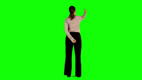 Businesswoman interacting with green screen Animation