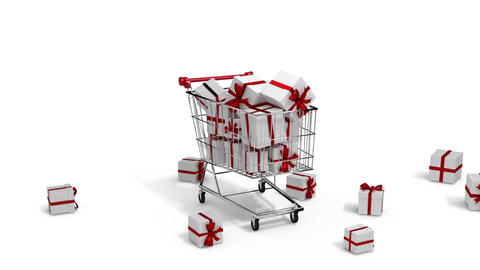 Gifts dropping in the trolley on white background Animation