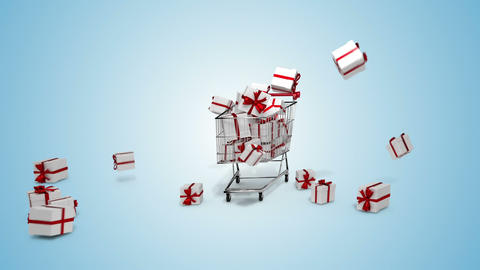 Gifts dropping in the trolley on blue background Animation