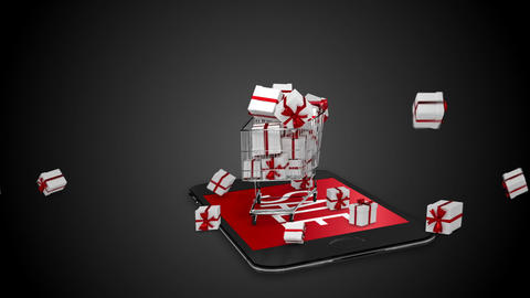 Presents falling in trolley Animation