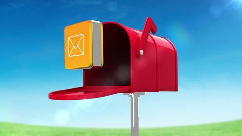 Mail icon in the mailbox on blue sky background Animation