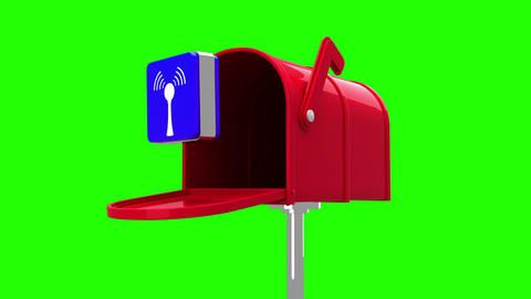 Wifi icon in the mailbox on green background Animation