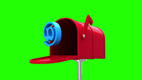 At symbol in the mailbox on green background Animation