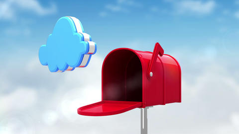 Internet icons in the mailbox on cloudy background Animation