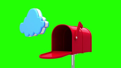 Internet icons in the mailbox on green background Animation