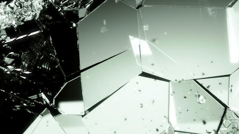 Glass smashed and broken in slow motion and 4k. Alpha matte Animation