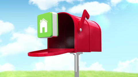 House symbol in the mailbox on cloudy background Animation
