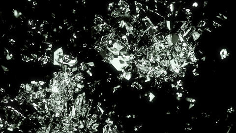 Glass broken and shattered in pieces with slow motion. Alpha Animation
