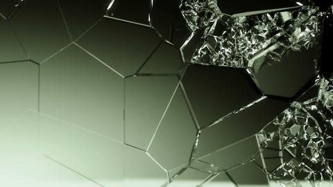 Glass demolished and broken slow motion . Alpha matte Animation