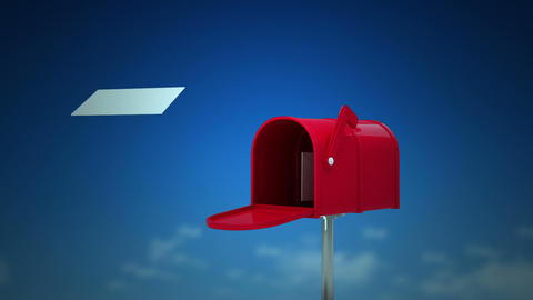 Letters coming out of the mailbox on sky background Animation