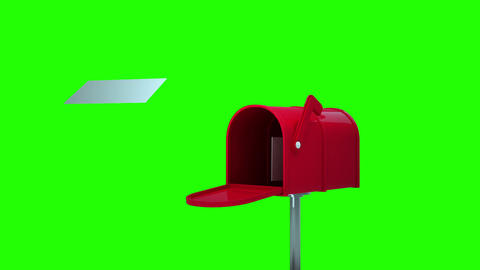 Letters coming out of the mailboxe on green background Animation