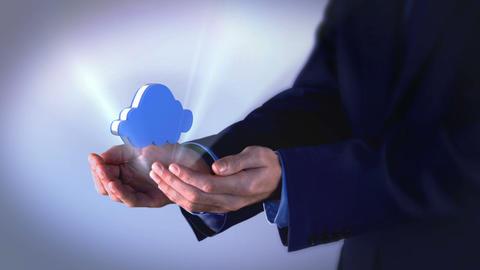Businessman presenting cloud computing graphic Animation